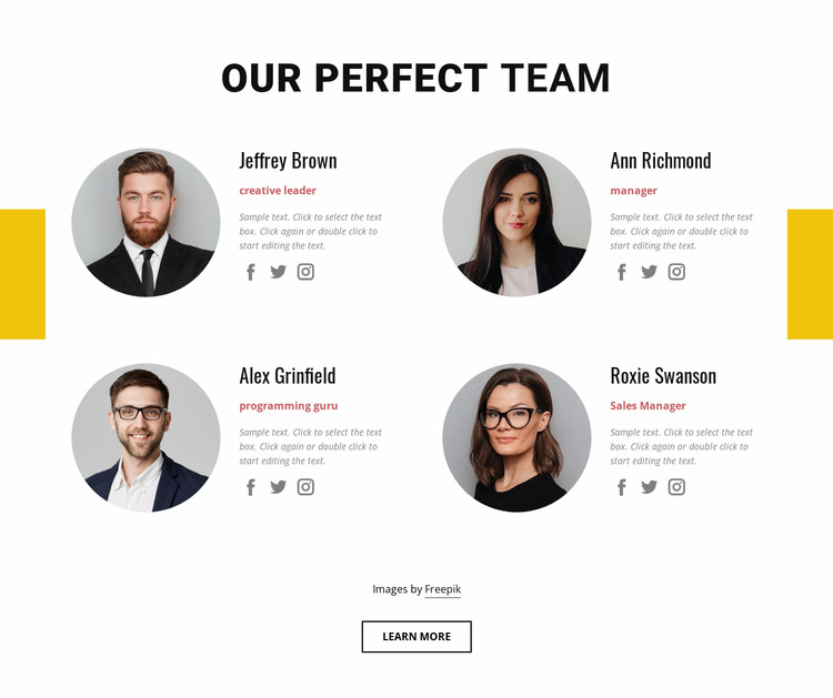 Perfect business team Html Website Builder