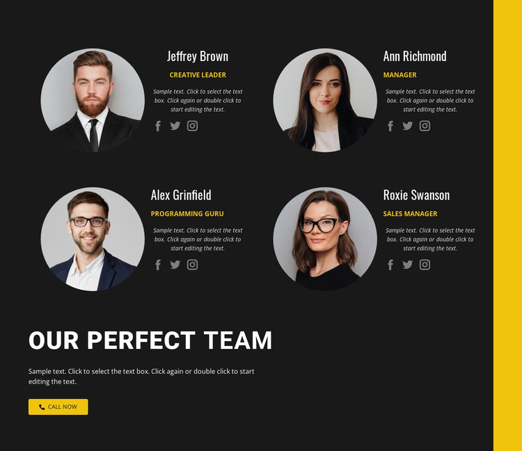 Our busuiness team Website Mockup