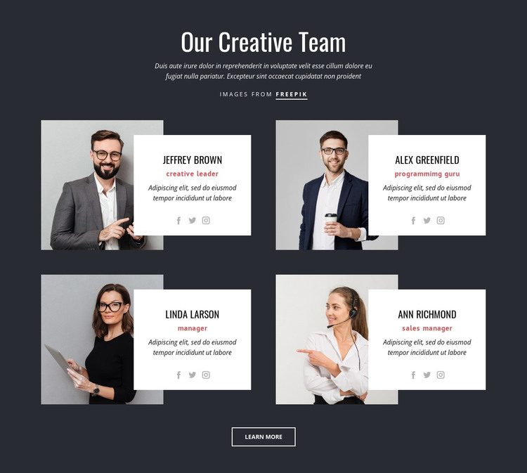 Our creative people HTML Template