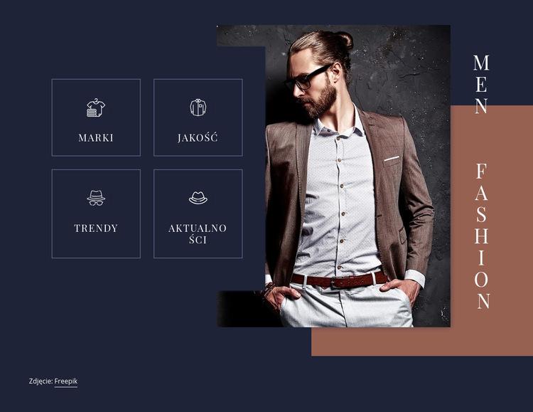 Trendy w modzie męskiej Szablon witryny sieci Web