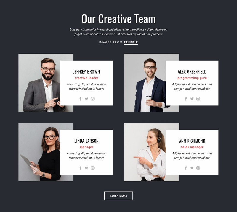 Our creative people Web Page Design