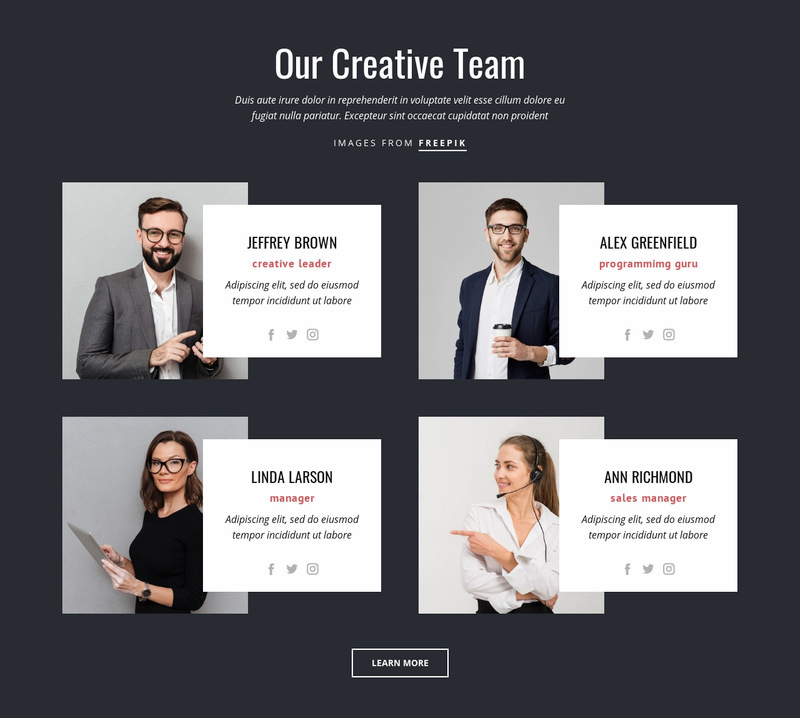 Our creative people Website Maker