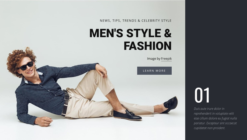 Men style and fashion Web Page Designer