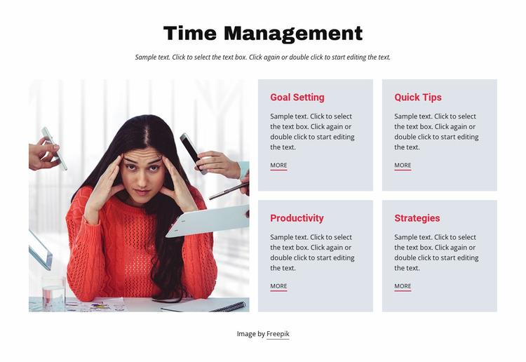 Time management cources Website Mockup