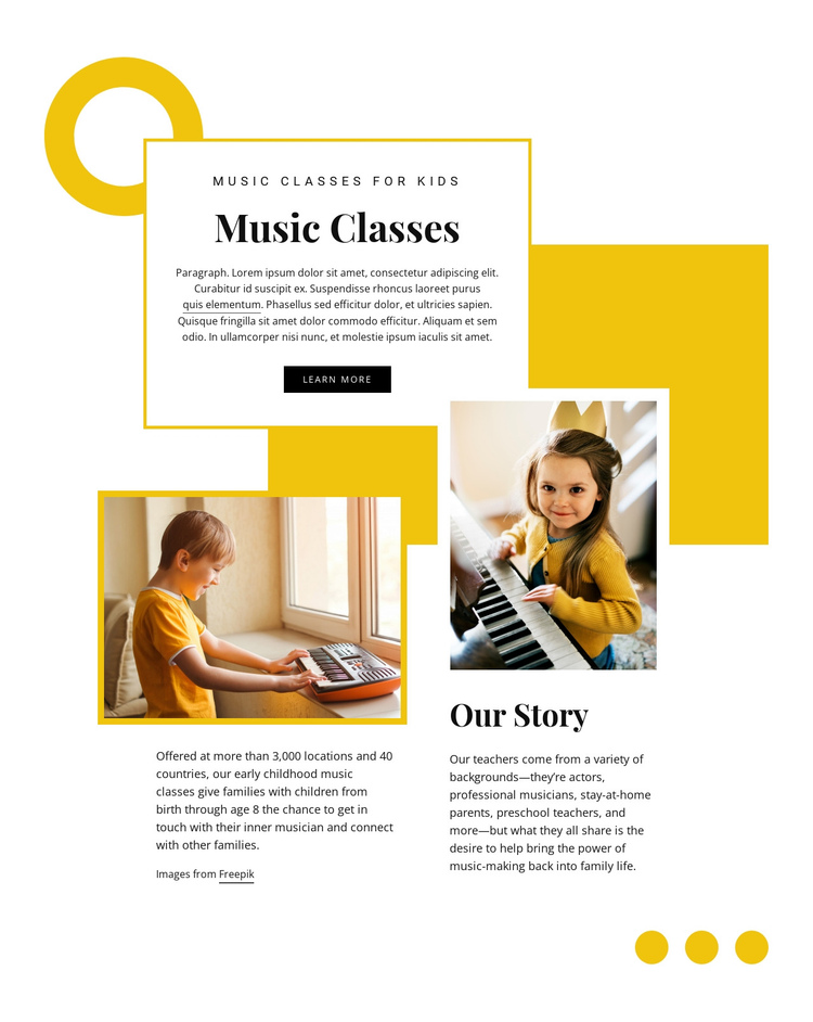 Children music education One Page Template