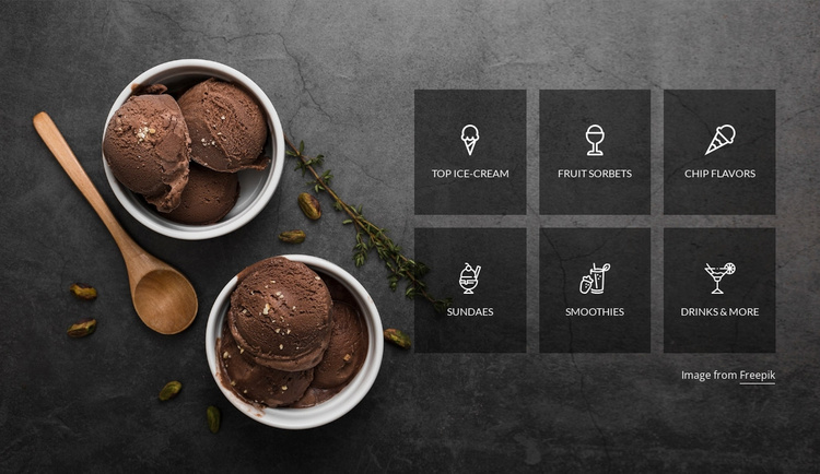 Ice cream dessert Landing Page