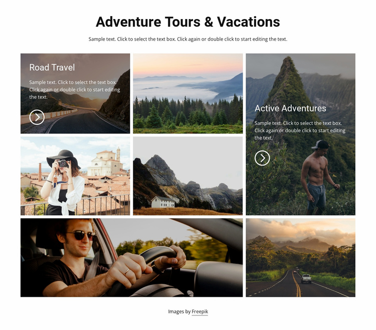 Vacations and great tours Landing Page