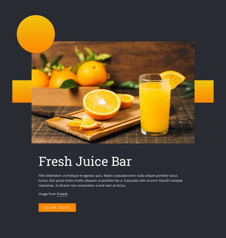 Fresh juice drink Website Mockup