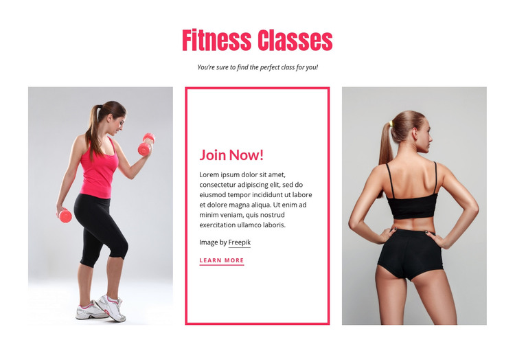 Fitness classes for women Homepage Design