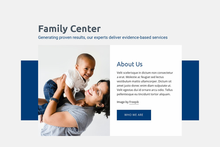 Family center services Website Mockup