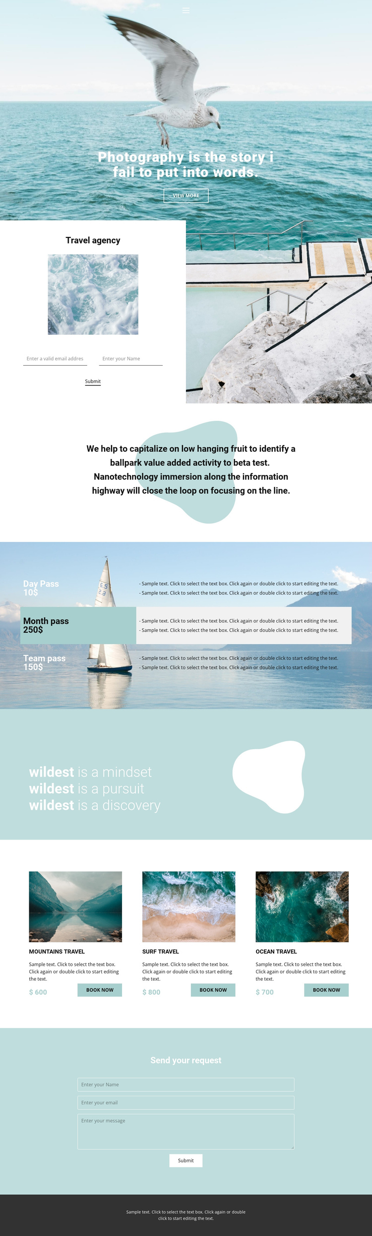 Travel and photo One Page Template