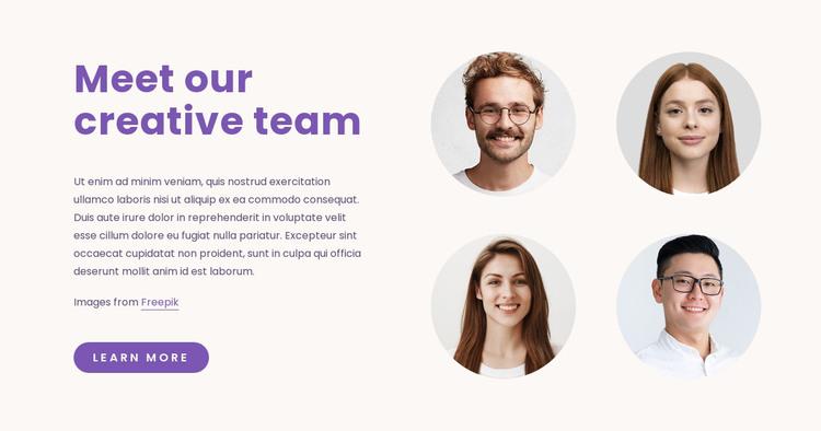 Our Creative Team Homepage Design