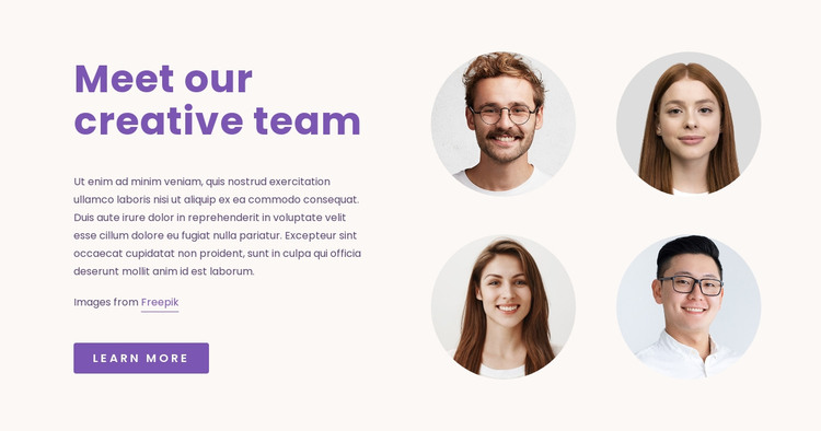 Our Creative Team HTML Template