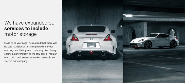Sport cars services Landing Page