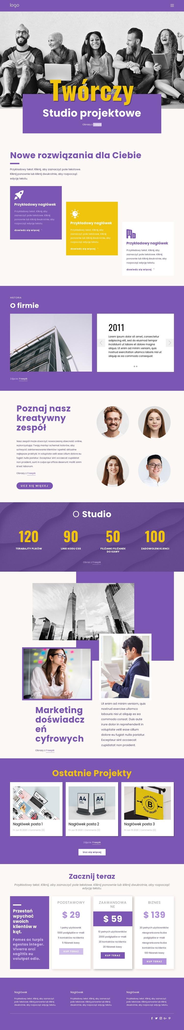 Jesteśmy kreatywnymi profesjonalistami w dziedzinie brandingu Szablon witryny sieci Web