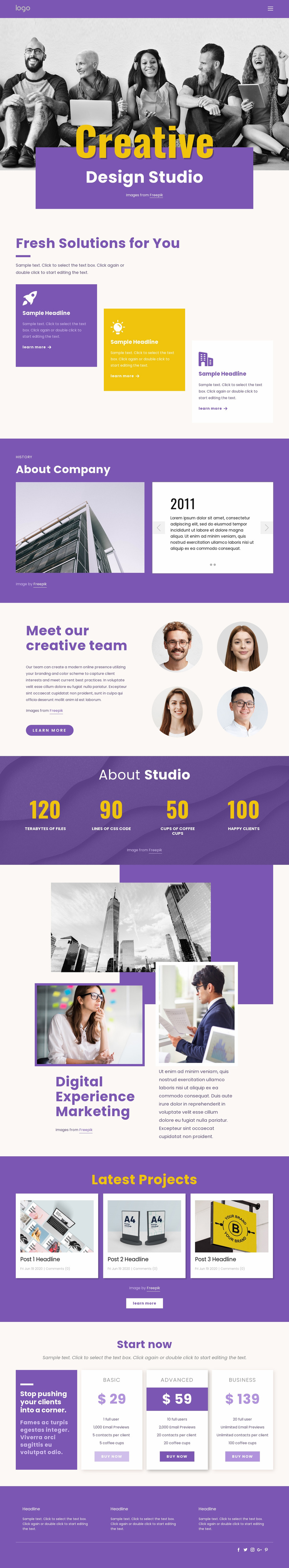 We are creative branding professionals Landing Page