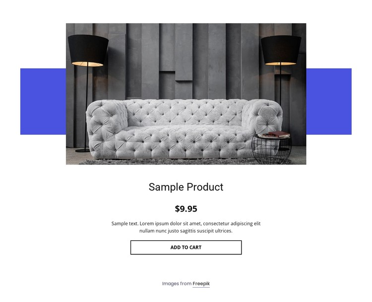 Cozy sofa product details CSS Template