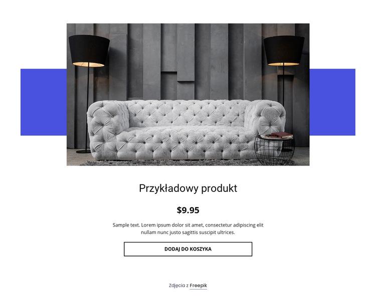 Szczegóły produktu przytulnej sofy Szablon witryny sieci Web