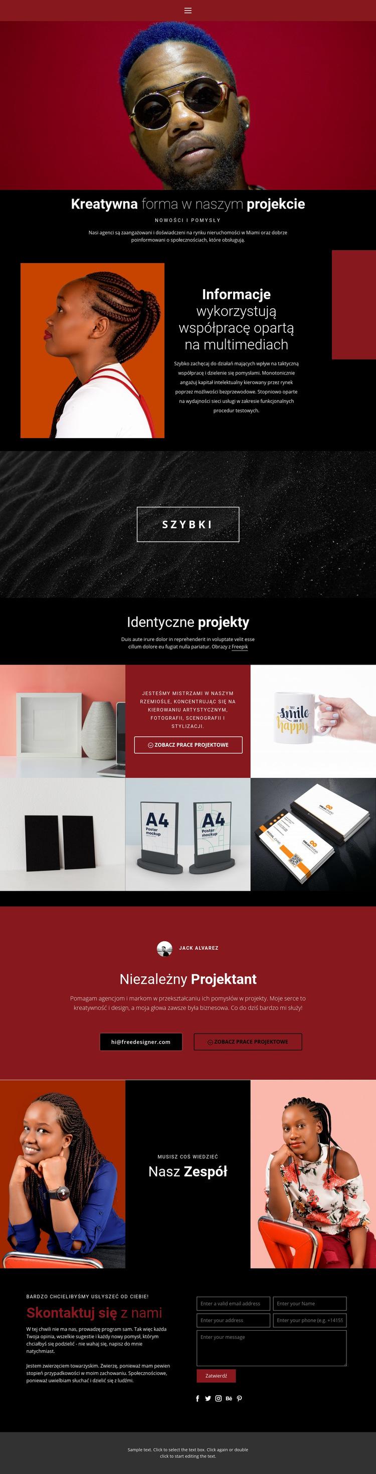 Kreatywna forma w projektowaniu Szablon witryny sieci Web