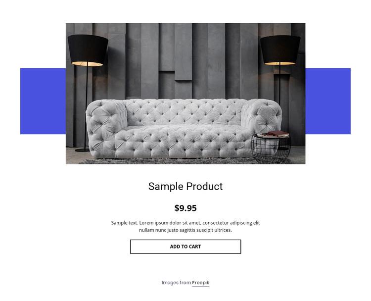 Cozy sofa product details Web Design