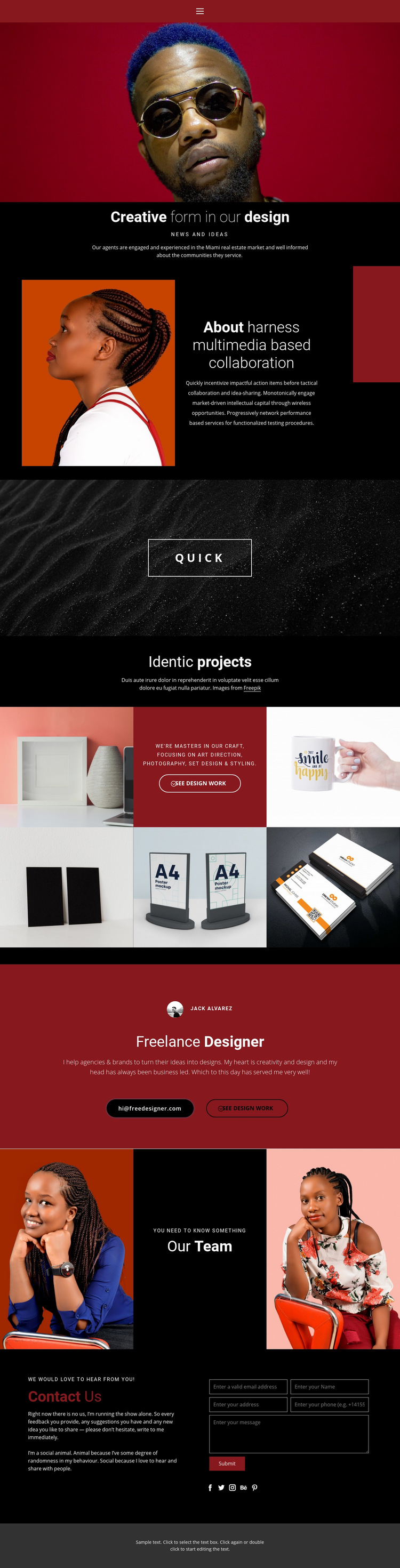 Creative form in design Web Page Design