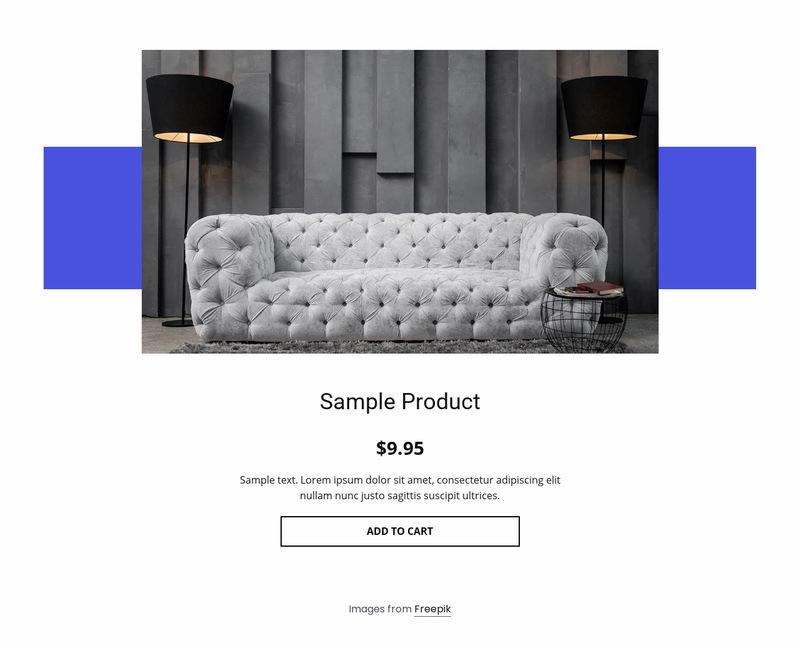 Cozy sofa product details Web Page Designer