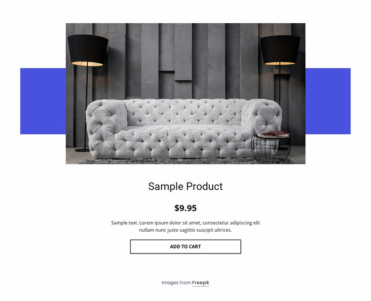 Cozy sofa product details Website Builder