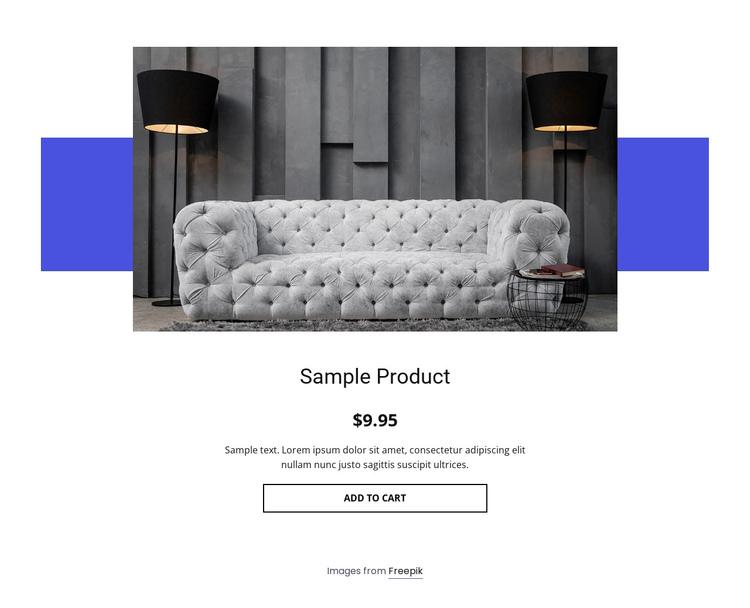 Cozy sofa product details Website Builder Software