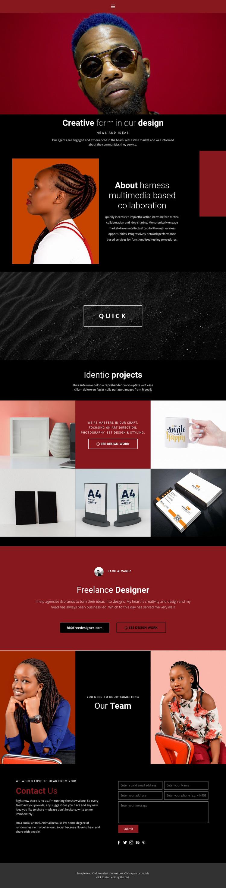 Creative form in design Website Mockup