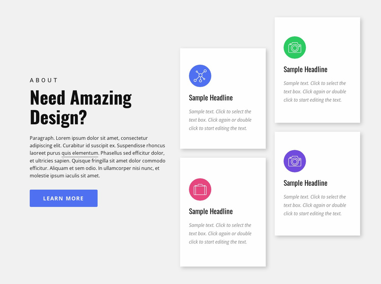 Design agency services Landing Page