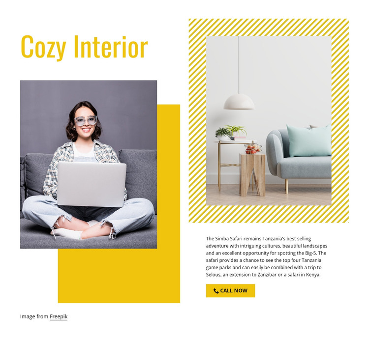 Cozy living room HTML Template