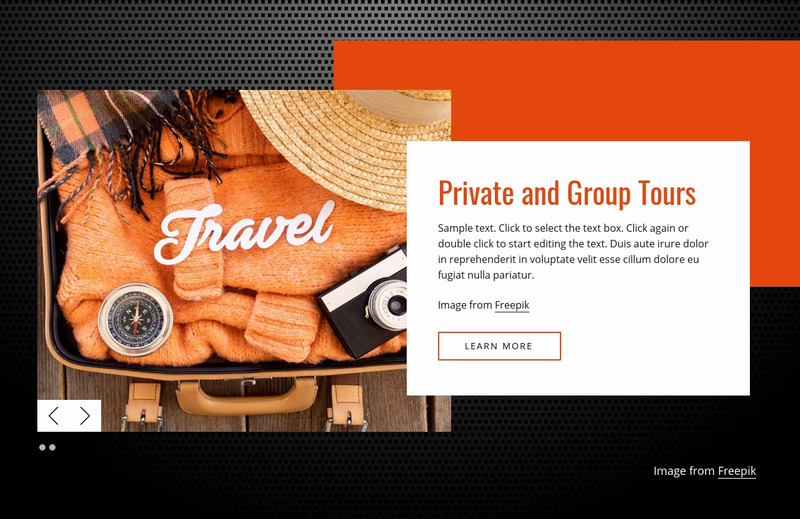 Private and group tours Web Page Design