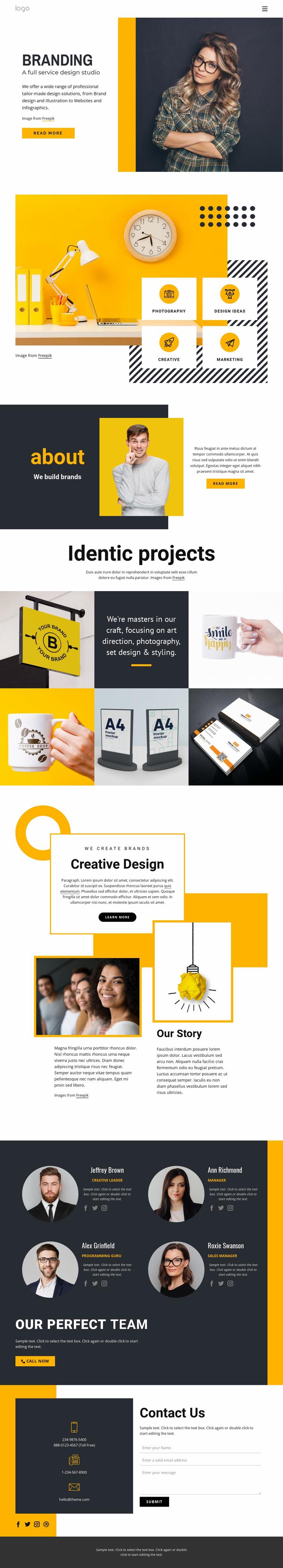 Full-service design studio Landing Page