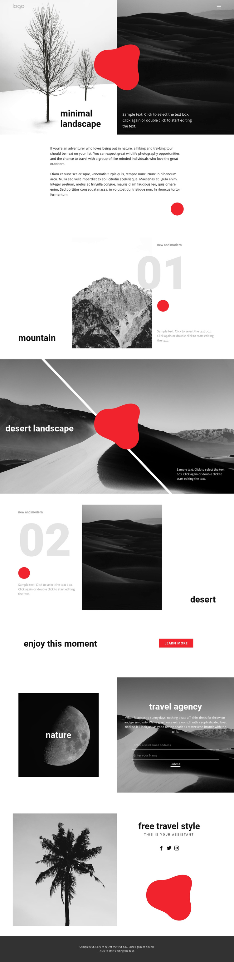 Minimal landscape photo One Page Template