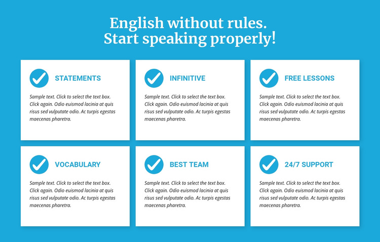 English classes without rules Joomla Page Builder