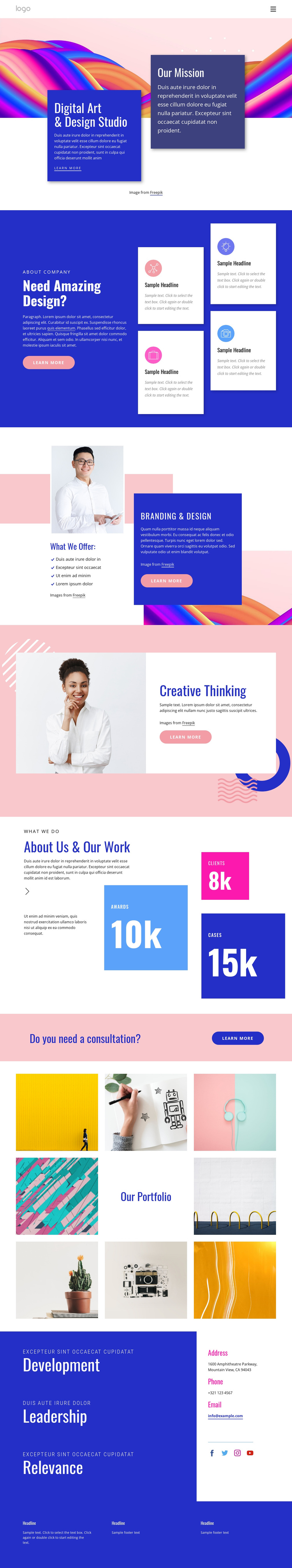 Create content that connects One Page Template