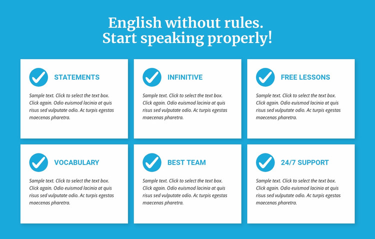 English classes without rules Website Mockup