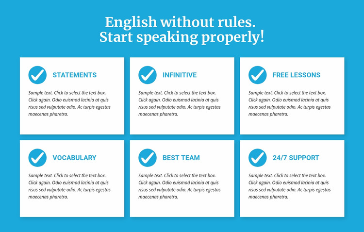 English classes without rules WordPress Website Builder