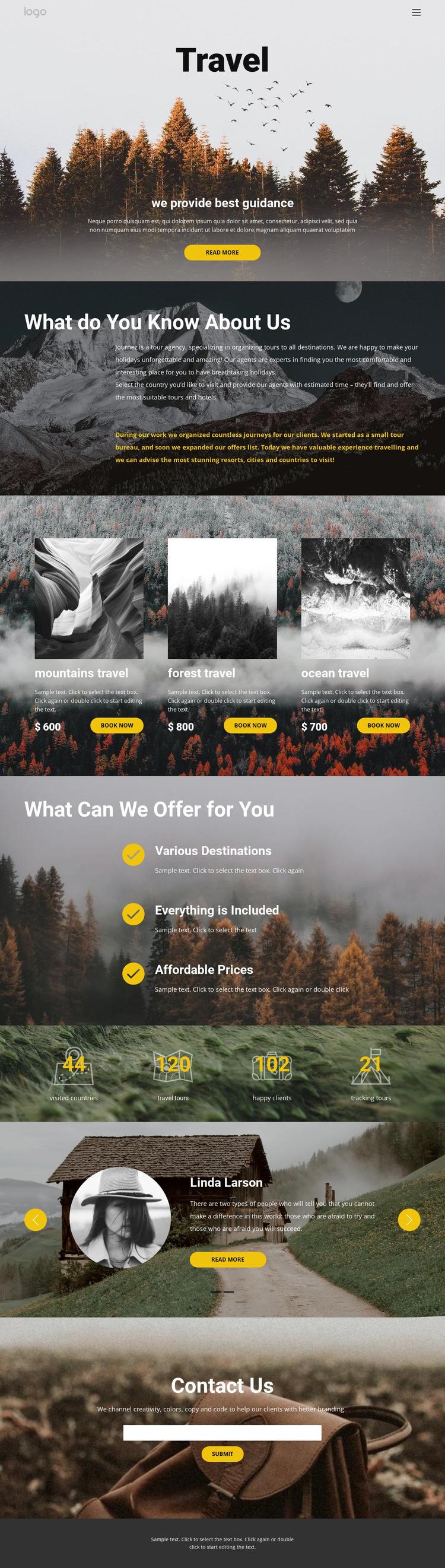 Wild solo travel HTML5 Template