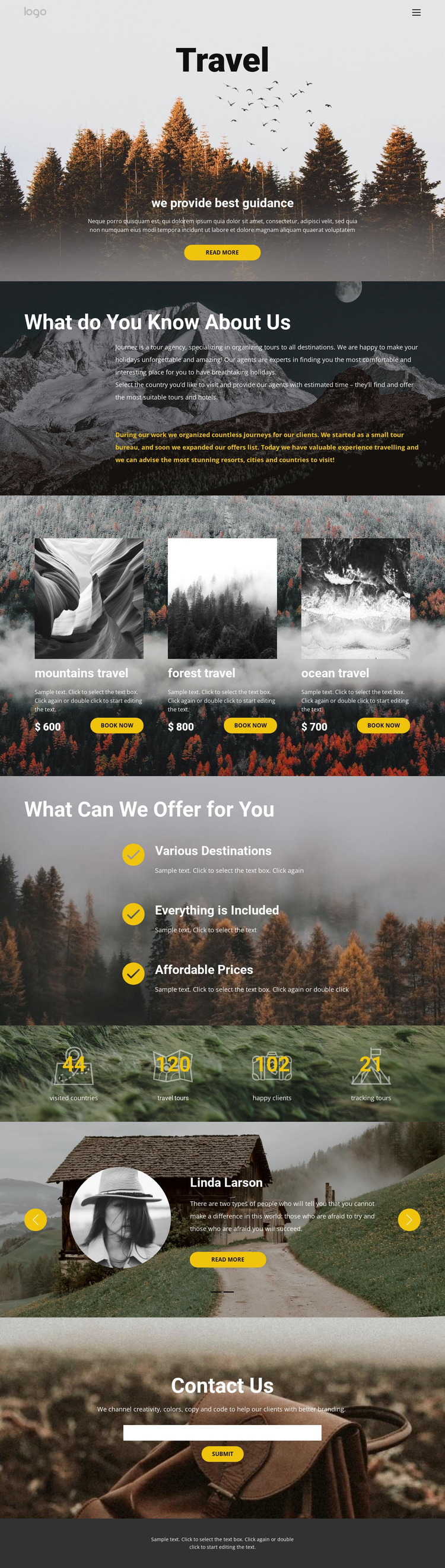 Wild solo travel One Page Template