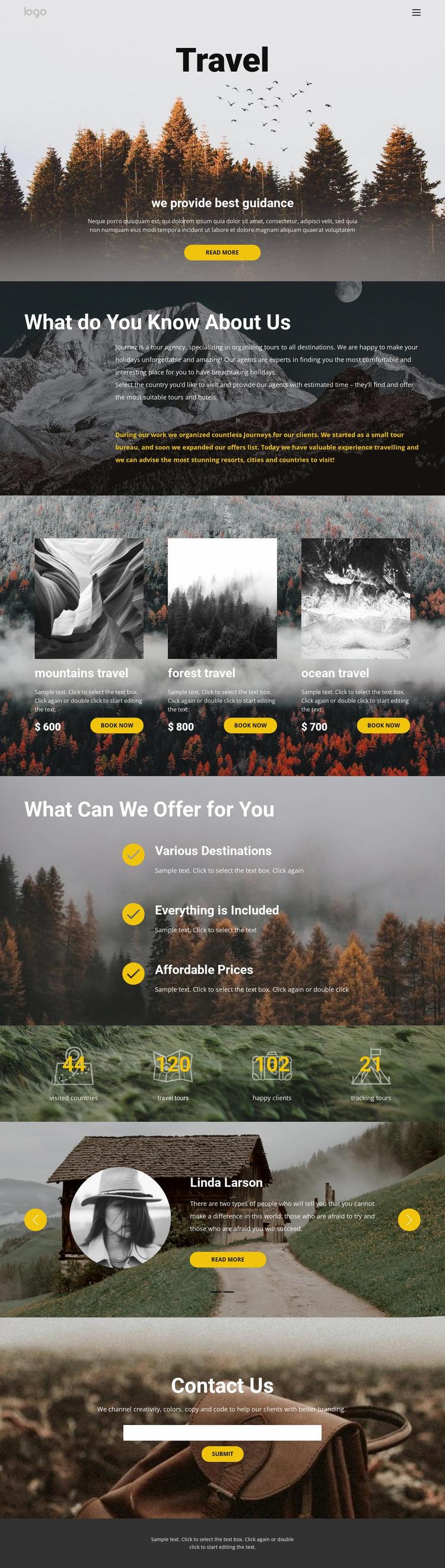 Wild solo travel Website Mockup