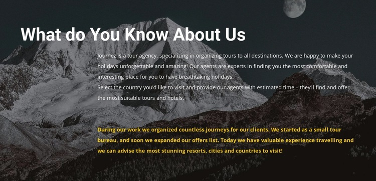 About our travel agency Html Code Example