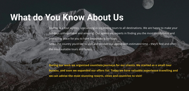 About our travel agency Website Design
