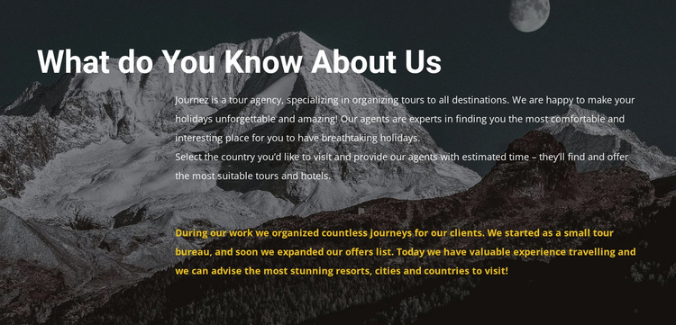 About our travel agency Landing Page