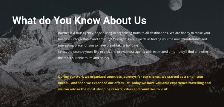 About our travel agency WordPress Website Builder
