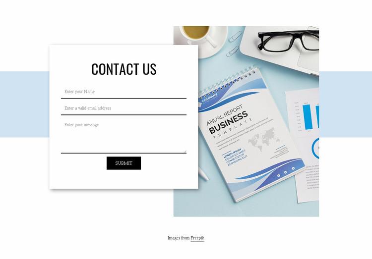 Contact us form Website Mockup