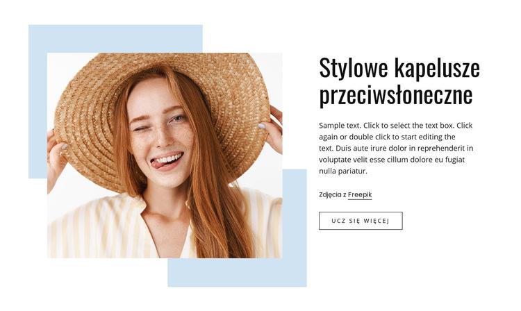 Stylowe czapki przeciwsłoneczne Szablon witryny sieci Web