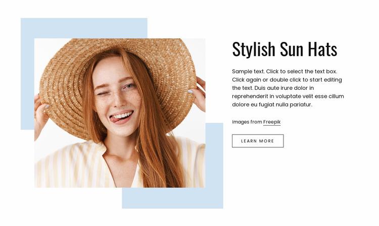 Stylish sun hats Website Mockup