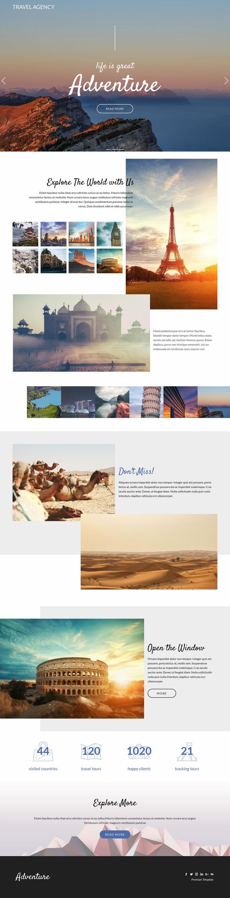 Adventure and travel Web Page Designer