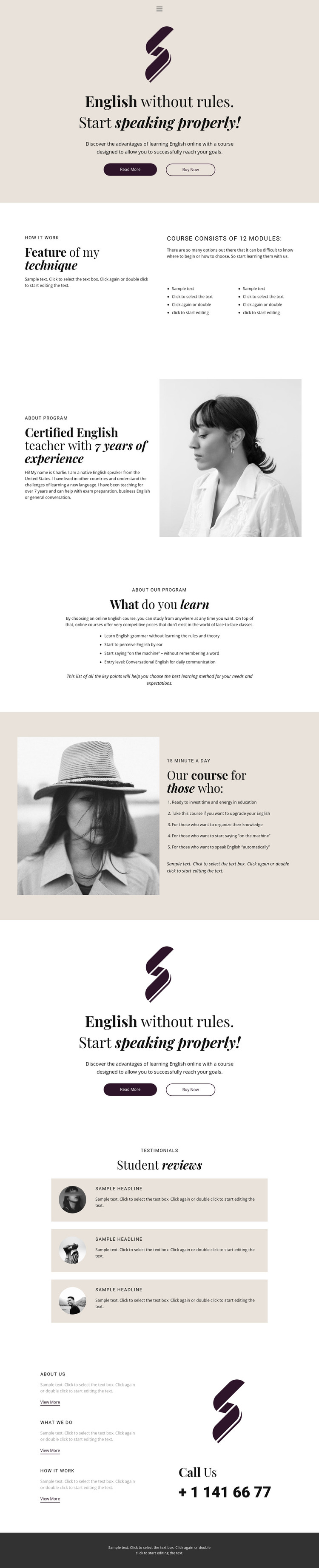 English no rules school HTML Template